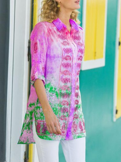 Pink Holiday Shirt Collar Patchwork Shirts & Tops