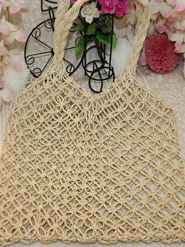 Women's Beach Cotton Rope Woven Tote Bag Handbag