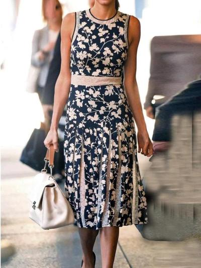 Navy Blue Floral-Print Sleeveless Ruched Shirts & Tops