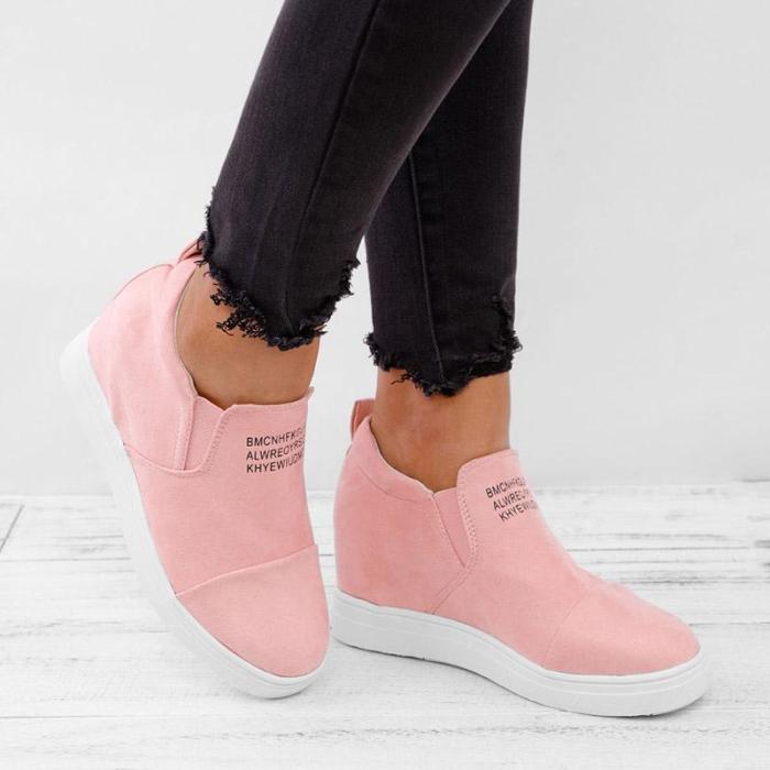 Women Faux Suede Wedge heel Sneakers Slip on Breathable Shoes