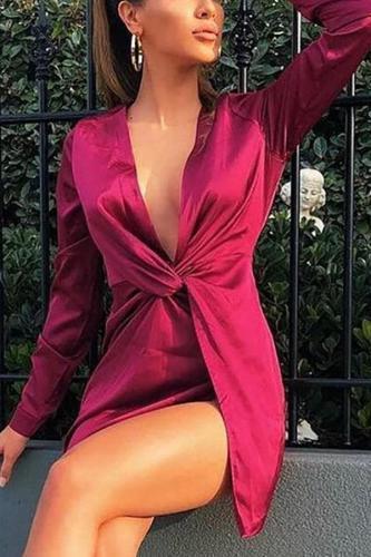 Sexy Deep V Pleated Slit Long Sleeve Bodycon Dresses