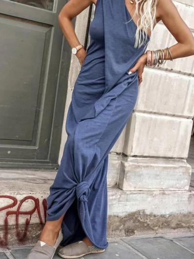 Blue Casual Cotton Dresses