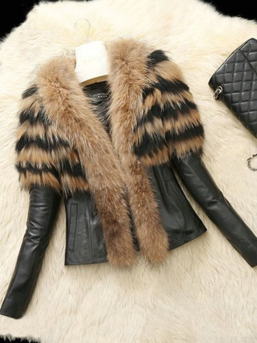 Paneled Long Sleeve Faux Fur Coat