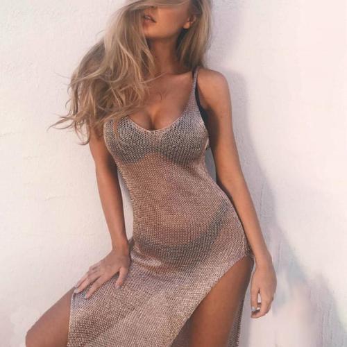 Spaghetti Strap  High Slit See Through  Plain  Sleeveless Bodycon Dresses
