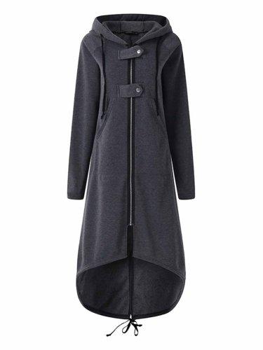 Hooded Sweatshirt Dress Zipper Asymmetrisch Long Jacke Coats