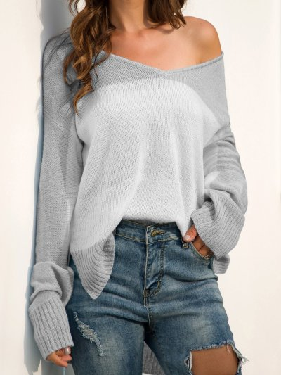 Color-Block Long Sleeve V Neck Shift Sweaters