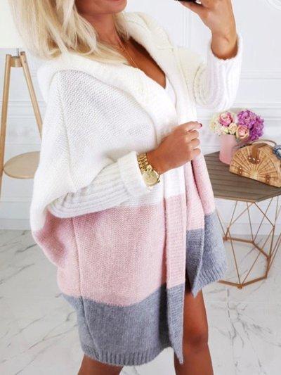 Casual Hoodie Long Sleeve Knitted Cardigan