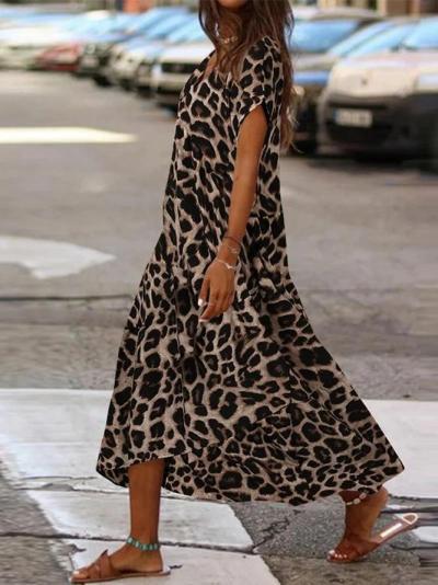 Leopard Print V-neck Casual Maxi Dress