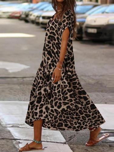 Leopard Print V-neck Casual Maxi Dress