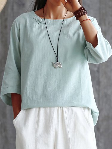 Plus Size Women Half  Sleeve  Round Neck  Solid   Casual  Tops