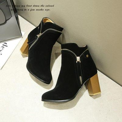 Large Size Ankle Suede Chunky Heel Daily Women Zipper Boots
