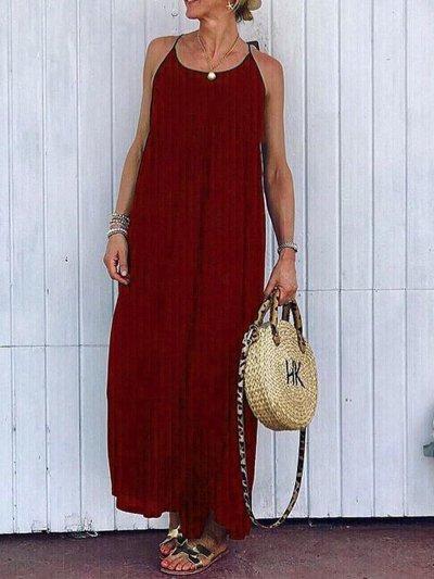 Solid Round Neck Sleeveless Dresses