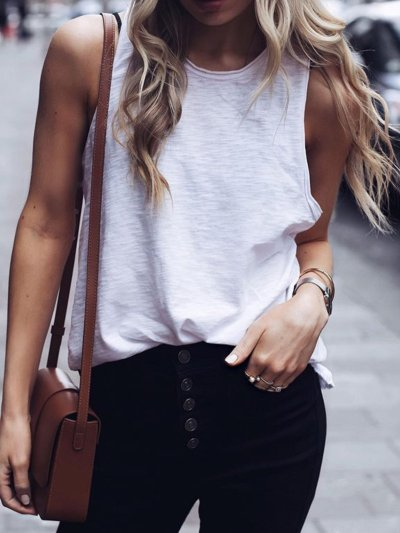 Summer Casual Tops Tunic Tanks Vest
