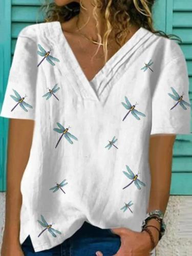 Plus Size Plain Cotton-Blend Short Sleeve Casual Shirts & Tops