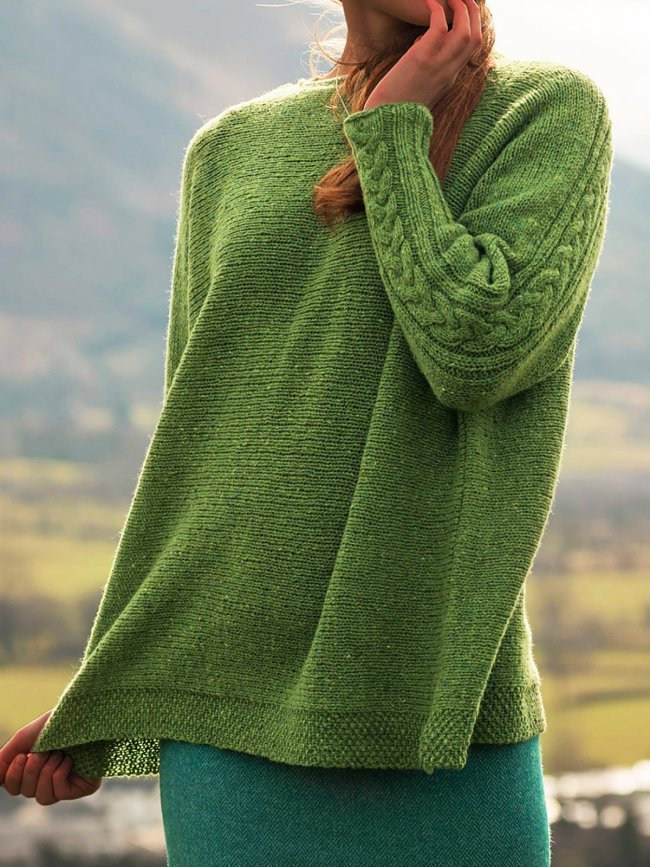 Crew Neck Solid Jacquard Casual Sweaters