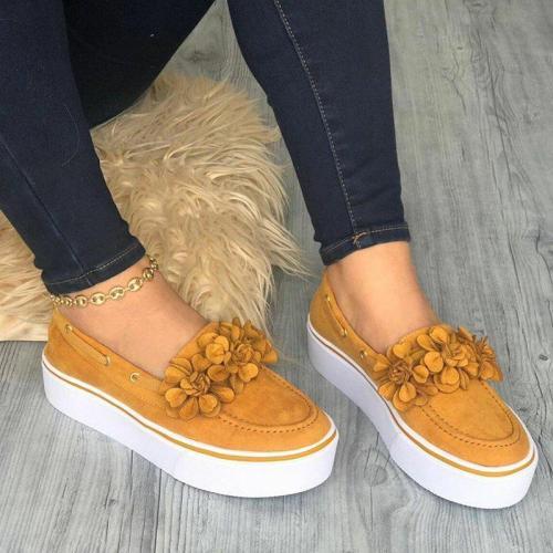 Flower Suede Slip-on Sneakers