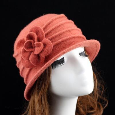 Wool Hat For Autumn And Winter Solid Warm Floral Hat Loose Retro Vintage Bowler Wing Caps Hats