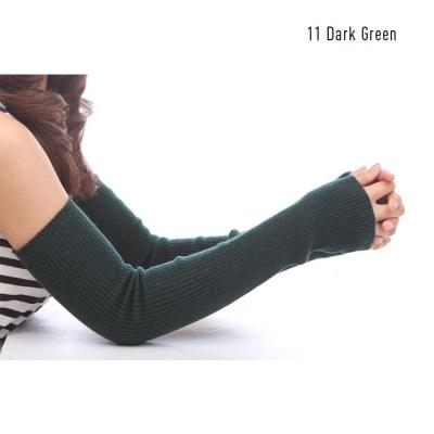 Autumn Winter  Women's Wool Arm Warmers Knitted Woolen Arm Sleeve Solid Fine Long Knitted Fingerless Gloves