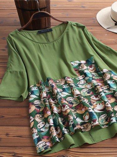 Patchwork Half Sleeve Shirts & Tops