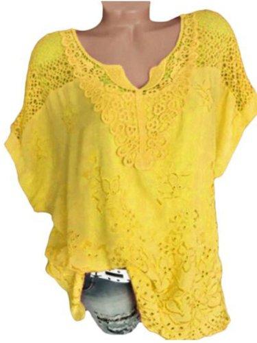Solid Cotton-Blend V Neck Shirts & Tops