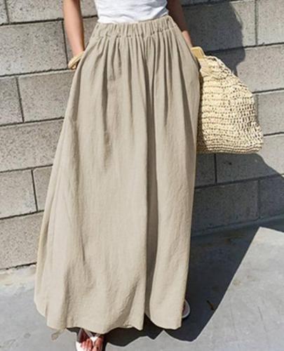 Long Trousers Wide Leg Pants Cotton Pantaloes Femme Loose Pockets Streetwear Oversize