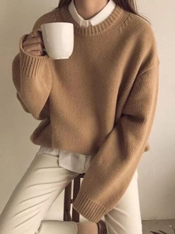 Casual Women Round Neck Long Sleeve Plain Sweater