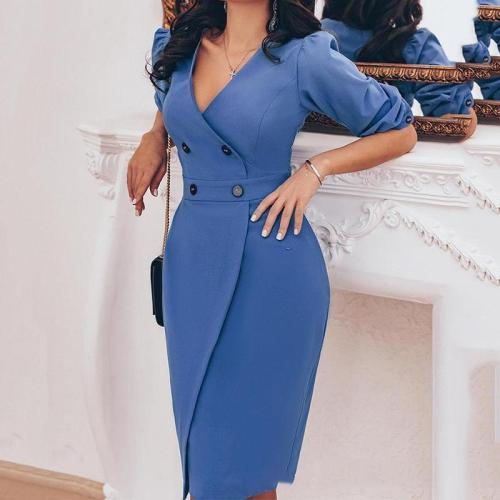 Fashion Double-Breasted Pure Colour V Neck Bodycon Dresses