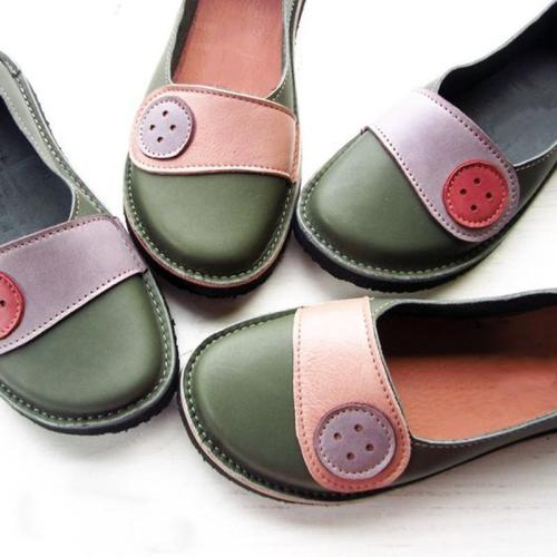 Soft Buttoned Daily Flat Heel Pu Loafers