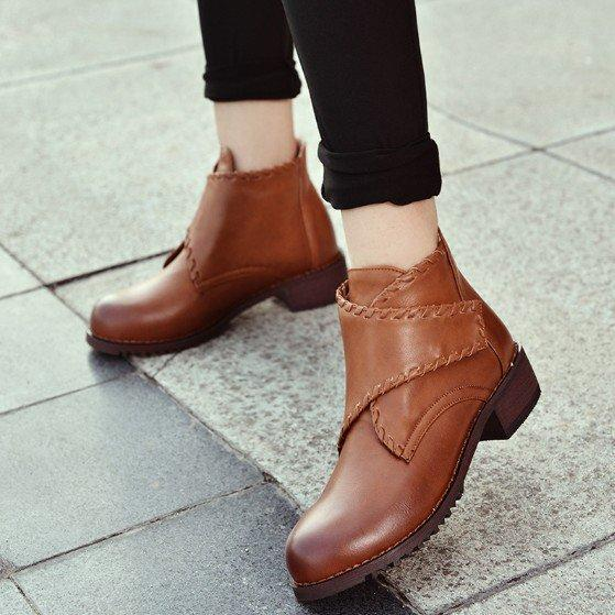 Brown Daily Chunky Heel PU Magic Tape Spring/Fall Boots