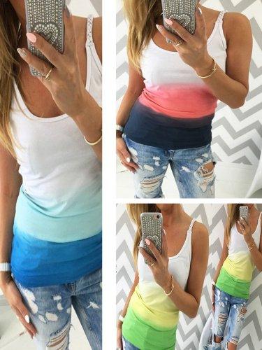 Plus Size Women Gradient Sleeveless U-neck Vintage Casual Vest Tops