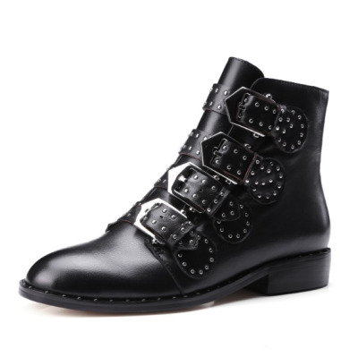 Metal Rivets Artificial Leather Office Booties Wedge Daily Chelsea Boots