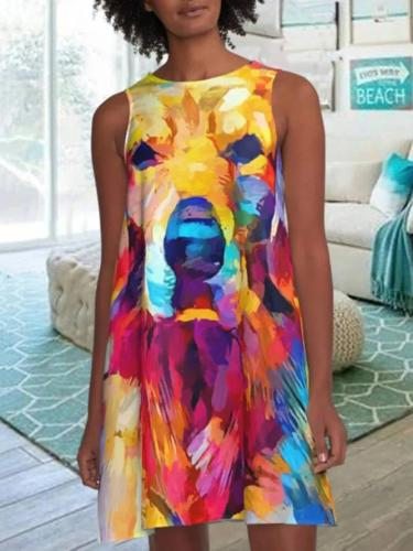 Multicolor Sleeveless Animal A-Line Dresses