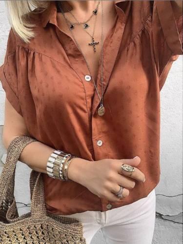 Red Brown Cotton-Blend V Neck Polka Dots Short Sleeve Shirts & Tops