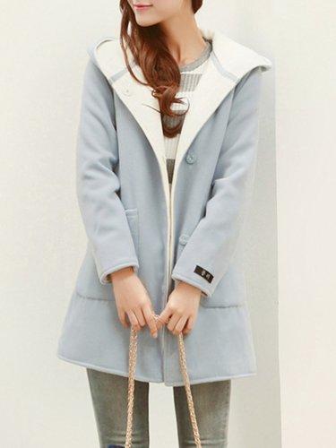 Pockets Casual Hoodie Plain Plus Size Coat