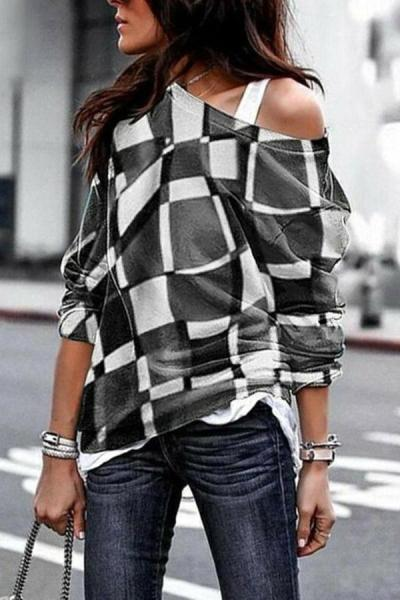 Geometric Print One Shoulder Casual T-shirts