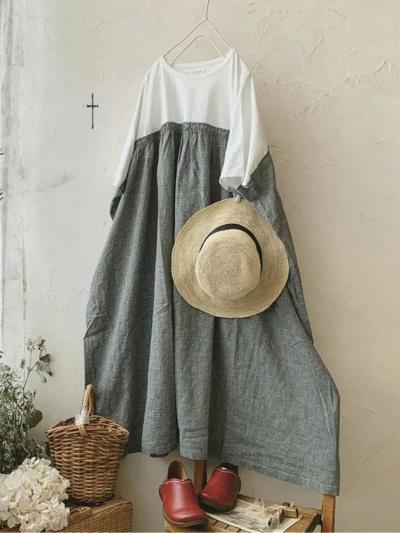 White Linen Crew Neck Paneled Vintage Dresses
