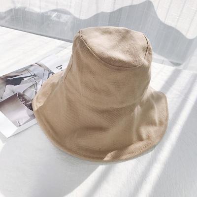 Women Outdoor Bucket Hats Summer Sun Hats Foldable Japanese Style Panama Wide Brim Bucket Hats Large Size Black Beige Khaki 2020