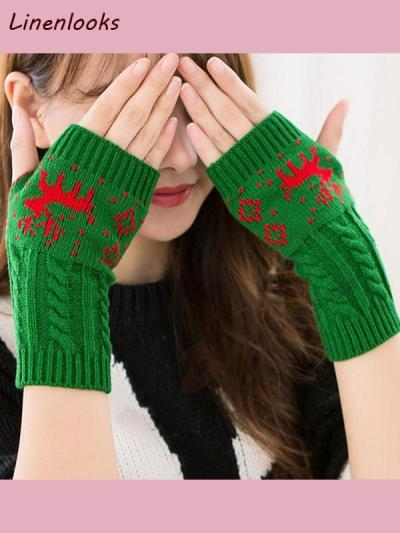 Women Knitted Fingerless Gloves Short Wrist Warm Mittens
