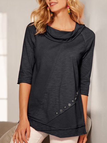 Black Half Sleeve Paneled Shirts & Tops