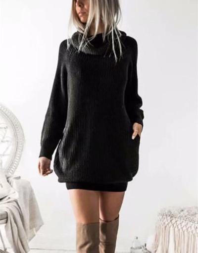 Casual Pure Color Callus Pile Neck Long Oversize Sweater Dress