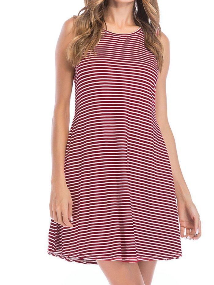 Women Stripes Summer Mini Dresses Crew Neck Shift Daily Dresses