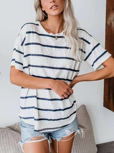 Crew Neck Cotton-Blend Casual Shirts & Tops