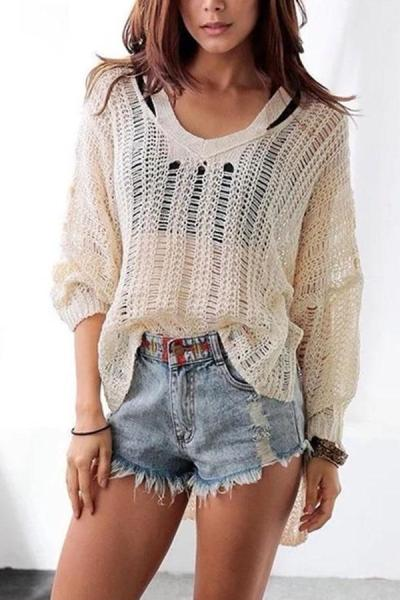 Fashion Sexy V Neck   Hollow Out Knit Sweaters