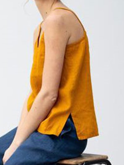 Slit Pure Color Sexy V Neck Spaghetti Plus Size Camis