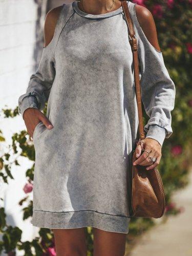 Paneled Cold Shoulder Cotton Fall Dress