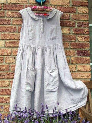 Plus Size Women Caftan Pockets Peter Pan Collar Casual Linen Dresses