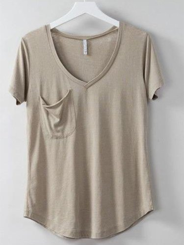 Casual V Neck Short Sleeve Pockets Shirts