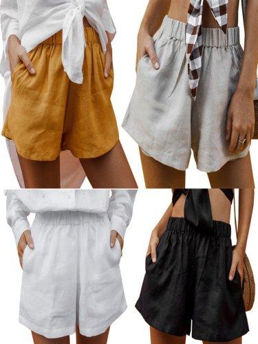 Women's Solid Sweet Elastic waist Pockets Shorts