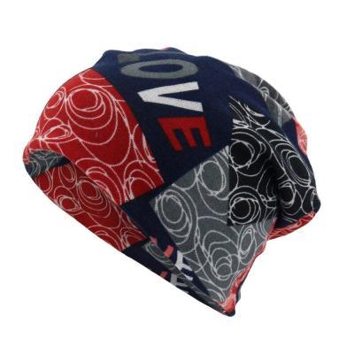 Women Letter Print Scarf Cap Woolen Caps