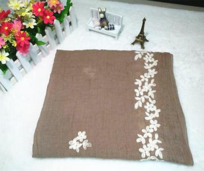 South Korea's Spring, Autumn and Winter New Three-dimensional Embroidered Silk Scarf Cotton and Linen Scarf.